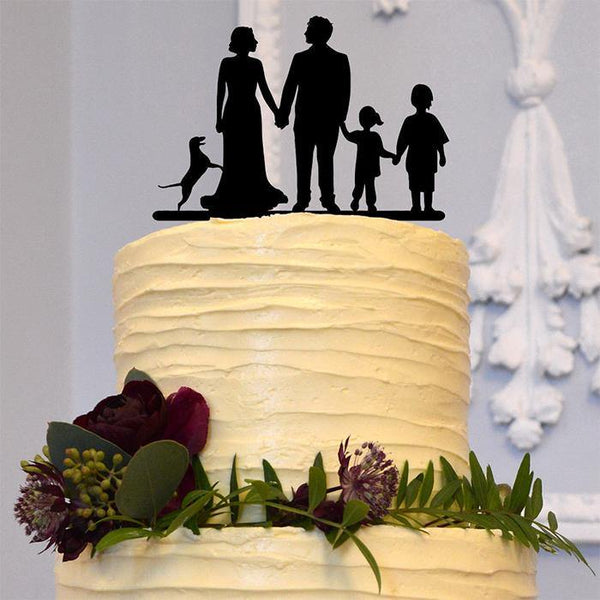 Engagement Wedding Cake Topper (Children /Son /Daughter /Family Members)[Bride, Groom & 3 Kids]