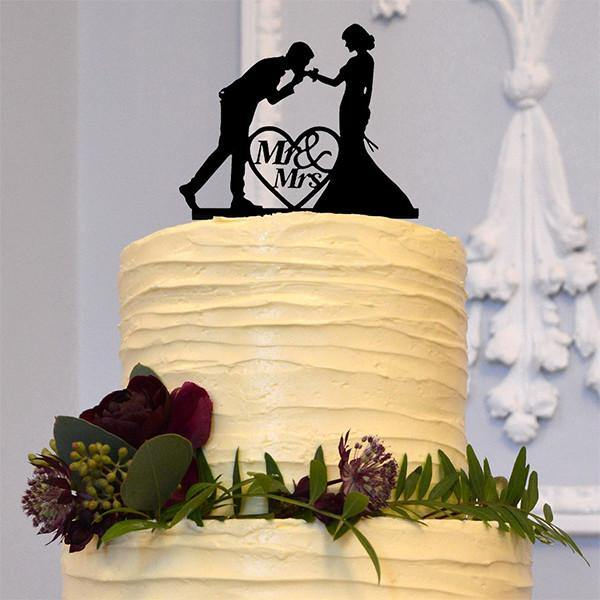 Engagement Wedding Cake Topper (Romantic Hand Kiss /Mr & Mrs /Love Heart Shape)