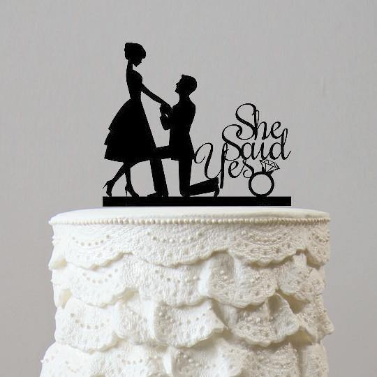 Engagement Wedding Cake Topper (Romantic Proposing /Marriage Proposal)