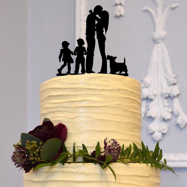 Family Wedding Cake Topper (Mom Dad Son Daughter & Dog) [Bride Groom Kiss w/ 2 Kids & Pet]