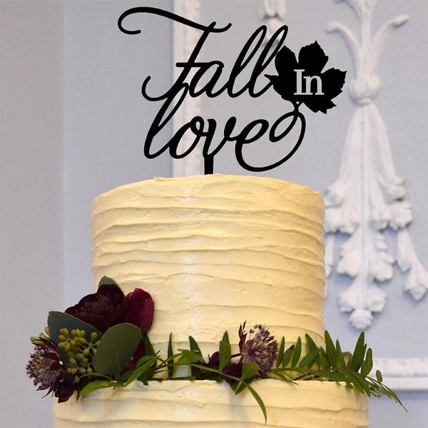 Fall Wedding Cake Topper (Rustic Country Vintage Decor Ideas) Autumn Maple Leaf, Chic & Classy Charmerry