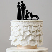 Load image into Gallery viewer, Family & Dog Wedding Cake Topper [Bride, Groom, Daughter & Pet] Girl Puppy Charmerry