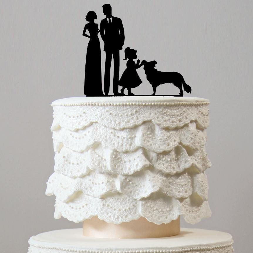 Family & Dog Wedding Cake Topper [Bride, Groom, Daughter & Pet] Girl Puppy Charmerry