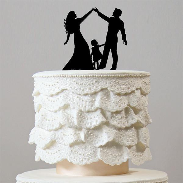 Simple Wedding Family Pictures: Family Wedding Cake Topper (Bride, Groom &Daughter