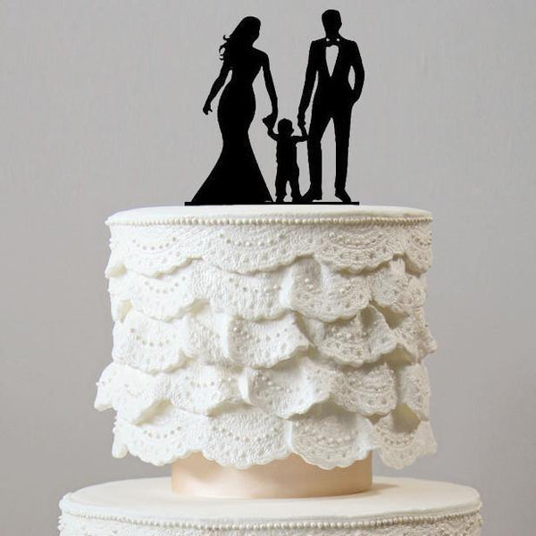 Family Wedding Cake Topper (Bride, Groom &Son) [Boy /Little Child /Kid /Anniversary /Engagement]