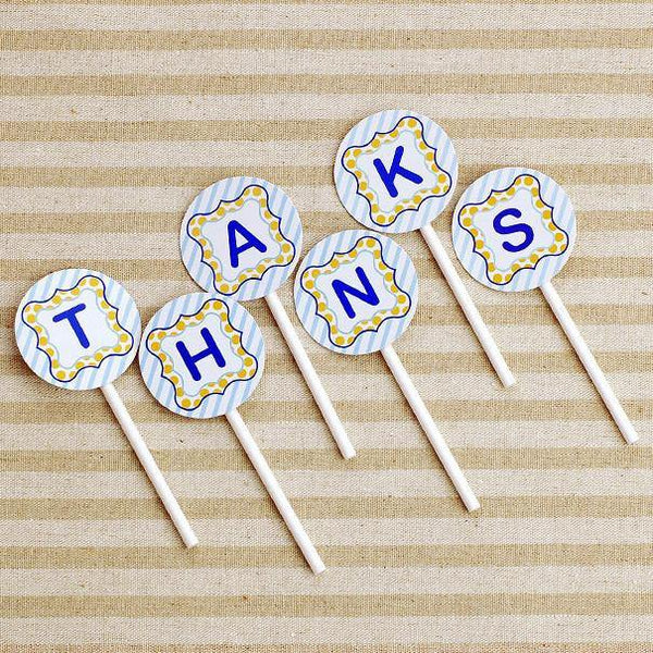 Cake Topper Letter Cake Topper for Baby Shower/ Kids Birthday Cake Decorations (Blue) - Charmerry