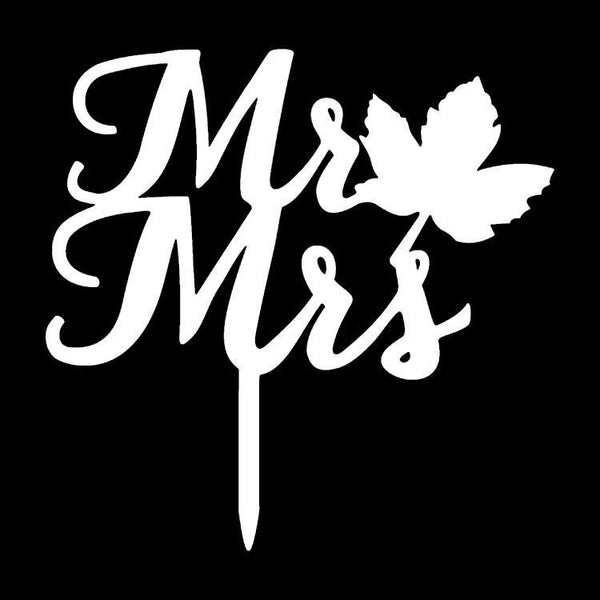 Cake Topper -Wedding Cake Decoration (Maple Leaf /Cursive Writing)