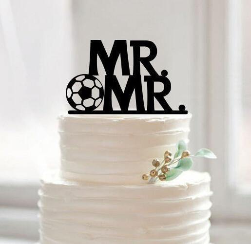Mr Mr Football Wedding Cake Topper (Gay Marriage /Homosexual /Same-Sex Love)
