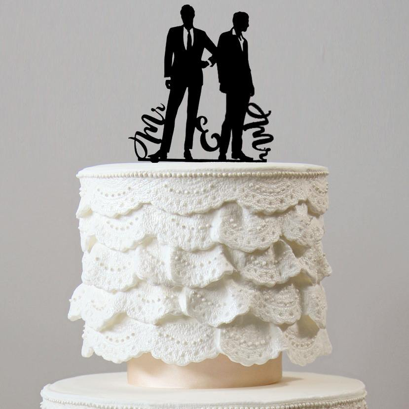 Gay Wedding Cake Topper (Mr. & Mr. Homosexual Love Same-sex marriage) Charmerry