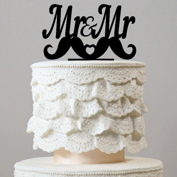 Gay Wedding Cake Topper (Mr. & Mr / Homosexual Love / Same-sex marriage) Charmerry