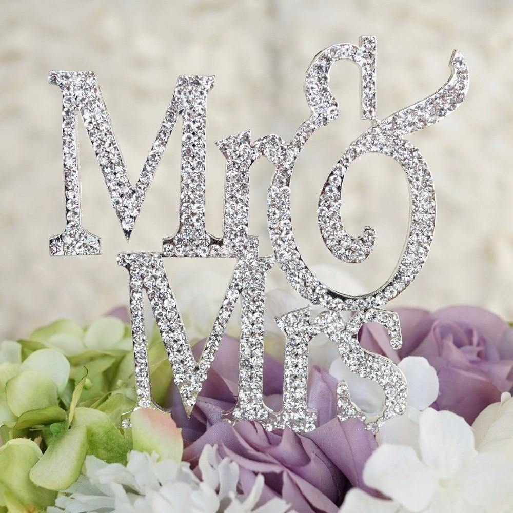 Rhinestone Crystal Mr Mrs Cake Topper for Wedding, Engagement, Anniversary &Bridal Shower Decoration - CHARMERRY