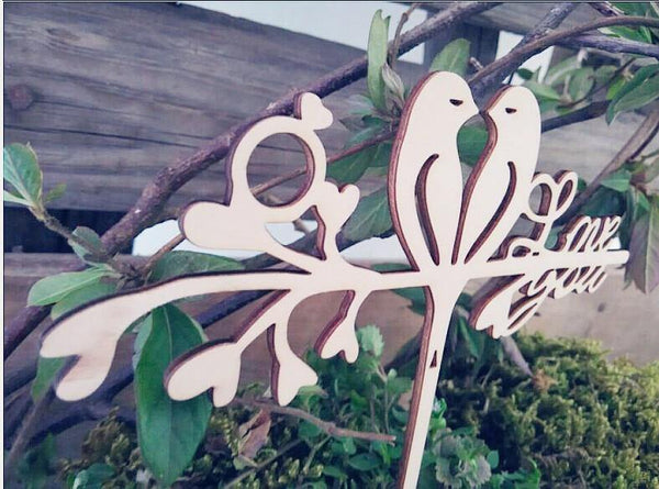 Love Message Bird Cake Topper (Rustic Wedding Anniversary Engagement)
