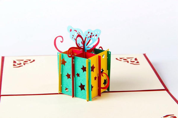 Greeding Cards Birthday Greeting Card/ Butterfly and Present/ 3D Pop Up Greative - Charmerry