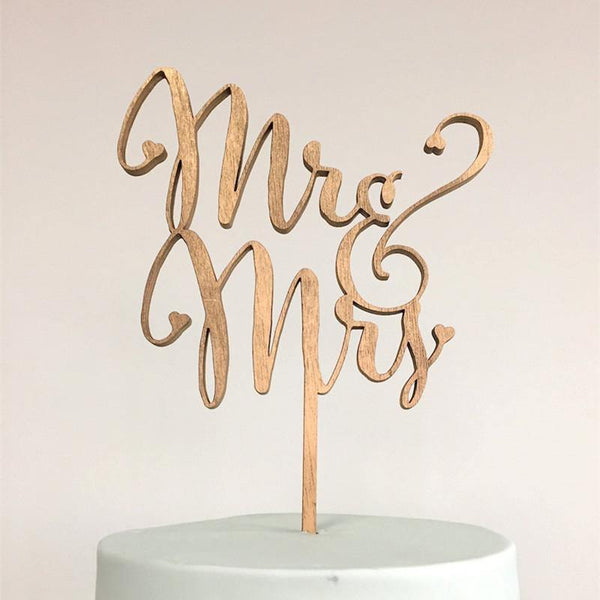 Wedding Cake Topper (Beautiful Wooden /Cursive/Rustic Theme /Mr & Mrs)