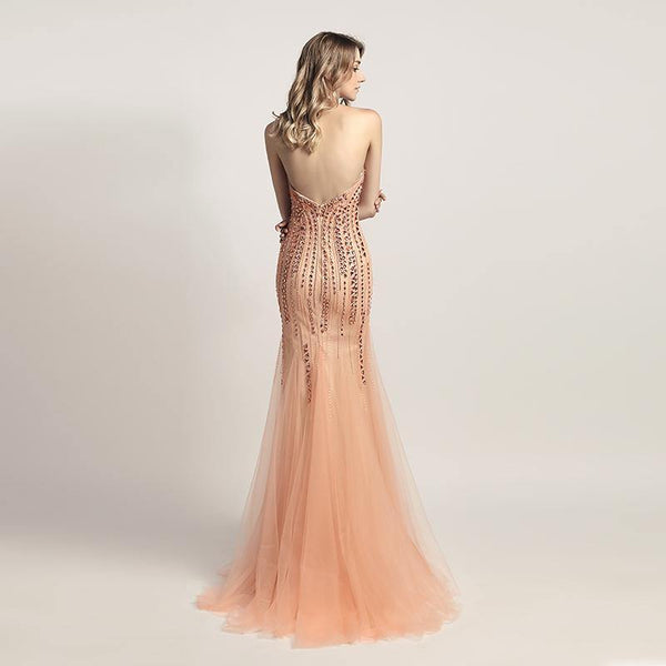 Crystal Wedding Dresses & Gowns - Luxury Open Back Mermaid Evening Dresses