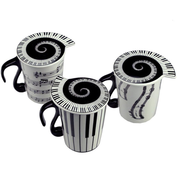 Sheet Music Coffee Mug (Piano Keyboard Lid /Musical Notes Tea Cup Gift)