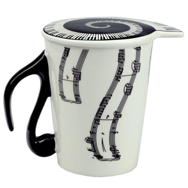 Music Coffee Mug /Melody Tea Cup Gift (Piano Keyboard /Musical Notes)