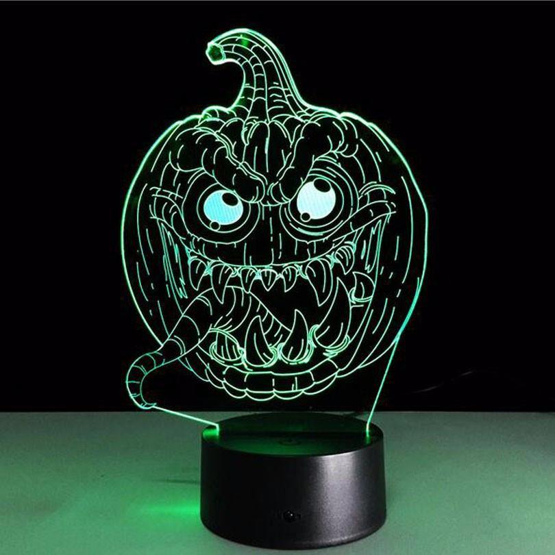 pumpkin led 3d night light sign halloween decoration decorating idea - Krbis Tischlampen