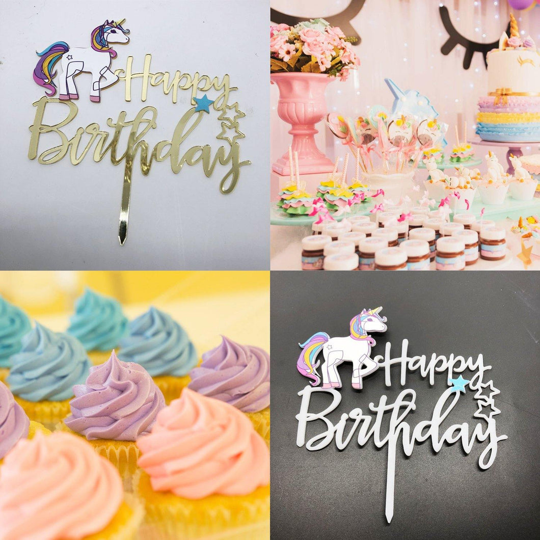 Happy Birthday Cake Toppers (Little Pony / Unicorn Cake Decorations) - CHARMERRY