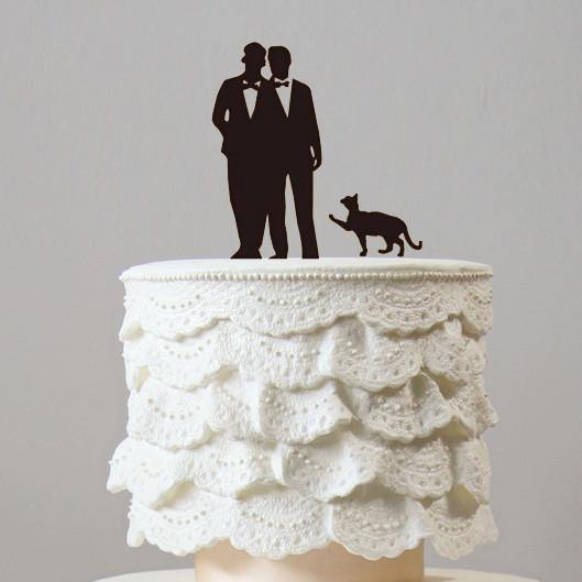 Wedding Cake Topper (Homosexual /Gay Marriage /Mr & Mr /Same-Sex Love) [Couple with Cat]