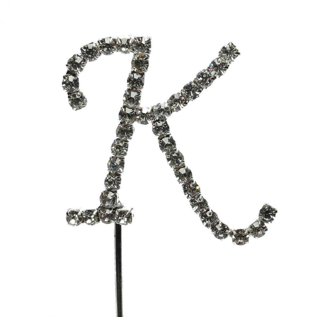 K Letter Crystal Rhinestone Cake Topper (FAUX Diamond /Silver Diamante) - CHARMERRY
