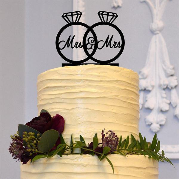 Mrs Mrs Wedding Cake Topper Decoration (Mrs & Mrs Diamond Ring) [Homosexual Love /Same-Sex Marriage]