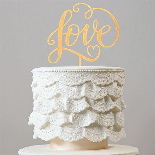 Love Cake Topper for Rustic Wedding, Anniversary, Engagement &Bridal Shower Party [Wood /Wooden]