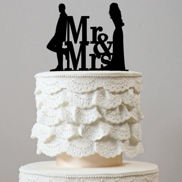 Modern Mr Mrs Cake Toppers (Beautiful Bride & Handsome Groom)