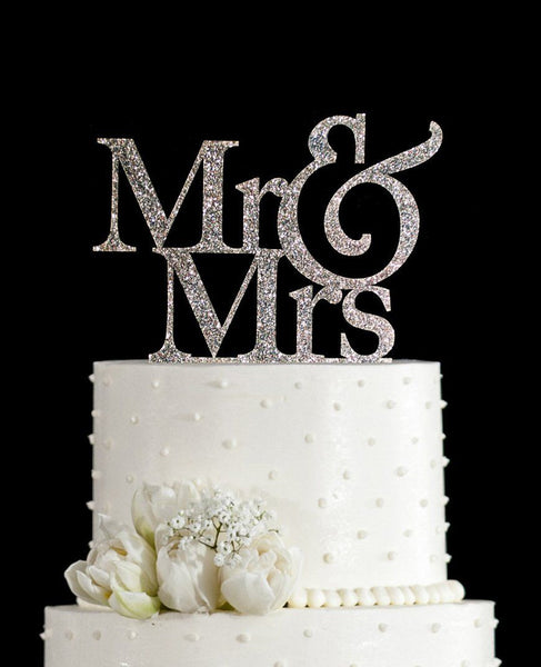 Mr Mrs Cake Topper (Gold /Silver) Beautiful Glitter Shiny Sparkly