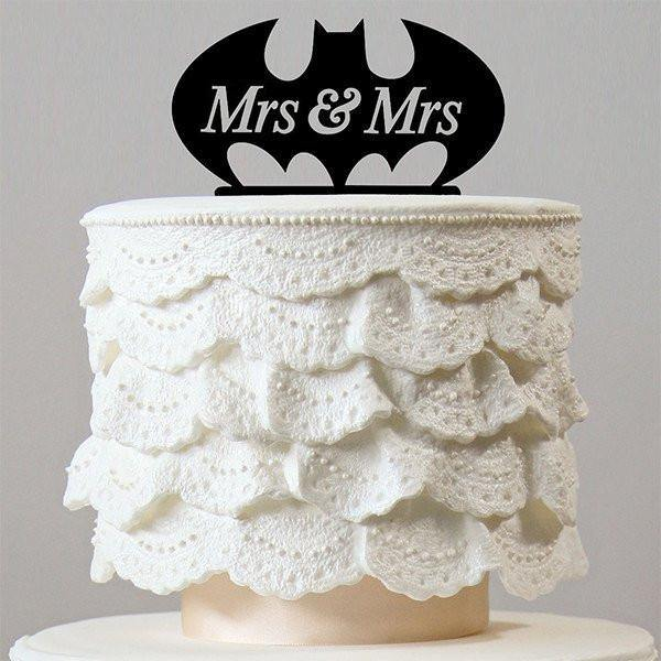 Bat Mrs & Mrs Wedding Cake Topper (Homosexual Love /Same-Sex Marriage)