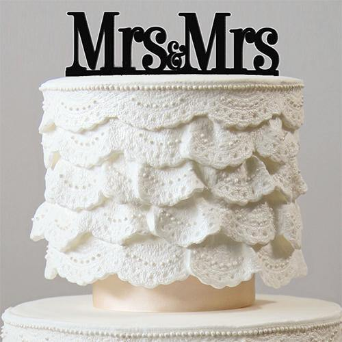 Mrs & Mrs Wedding Cake Toppers (Same-sex Homosexual Cake Accessories)