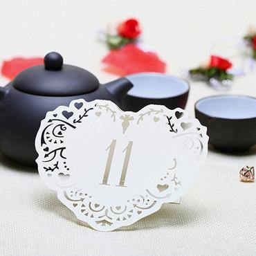 Table Numbers for Wedding [Rustic Vintage Baroque Theme] (11 to 20 Table Cards) 10pcs/set [Ivory] - CHARMERRY