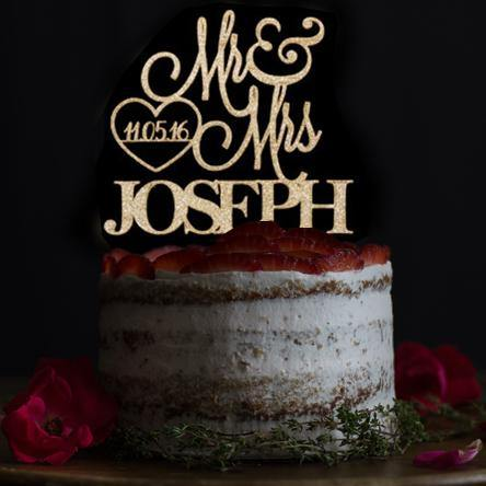 Personalised Cake Toppers | Customized Wedding Keepsake Gifts (Custom Date & Name)