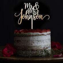 Load image into Gallery viewer, Personalised Cake Toppers  Customized Wedding Keepsake Gifts (Wood  Custom Name) Charmerry