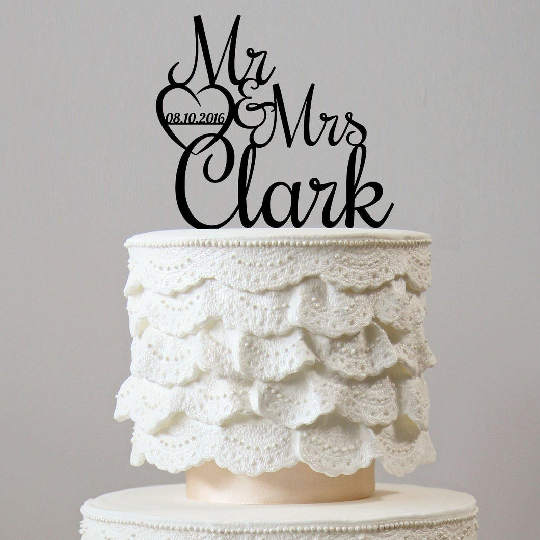 Personalised Customized Cake Toppers (Custom Name & Date) Wedding Keepsake Gifts - CHARMERRY