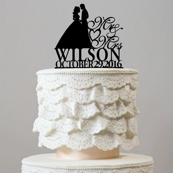 Personalised Customized Wedding Cake Toppers (Custom Name & Date) Wedding Keepsake Gifts