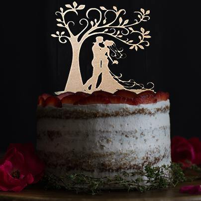 Romantic Cake Topper for Wedding Anniversary Engagement (Bride Groom Couple Kissing Under Love Tree) Charmerry