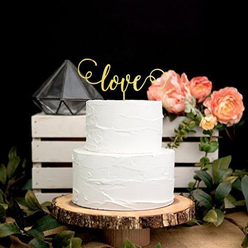 Romantic Cake Topper for Wedding Anniversary Engagement (Mr Mrs /Love /Rings) [Gold & Red /4 Styles]