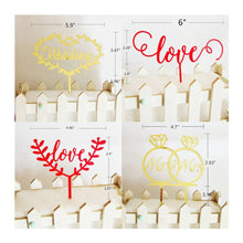 Load image into Gallery viewer, Romantic Cake Topper for Wedding Anniversary Engagement (Mr Mrs /Love /Rings) [Gold & Red /4 Styles] - CHARMERRY