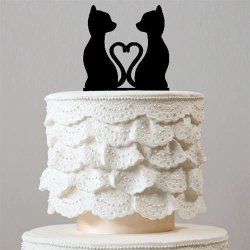 Romantic Cats in Love Cake Toppers (Wedding Keepsakes for Pet Lovers) Charmerry
