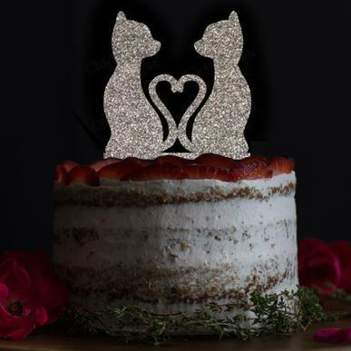Romantic Cats in Love Cake Toppers (Wedding Keepsakes for Pet Lovers) Charmerry 2
