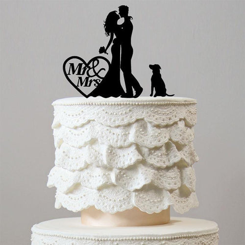 Romantic Engagement /Wedding Cake Topper Decoration with Dog Pet Puppy Charmerry