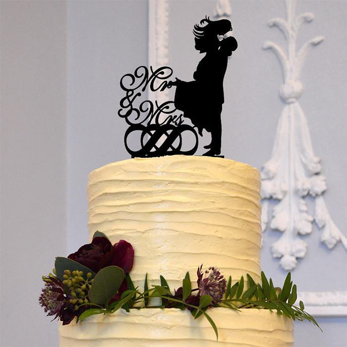 Romantic Wedding Cake Toppers (Mr & Mrs /Groom lifting Beautiful Bride) - CHARMERRY