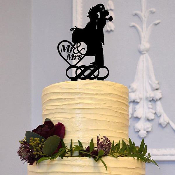 Romantic Wedding Cake Toppers (Mr & Mrs /Groom lifting & Kissing Bride /Love Heart)