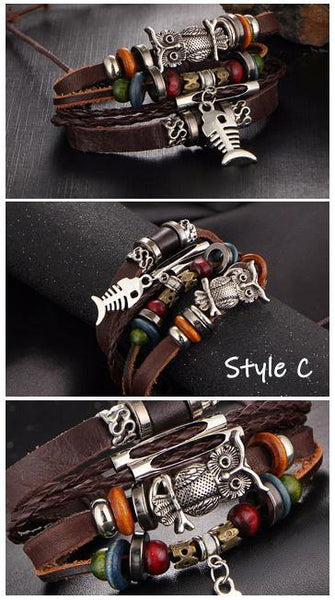 Leather Bracelets | Street Style Biker Southwest Rock`n Roll Outfit Additions & Accessories CHARMERRY A19