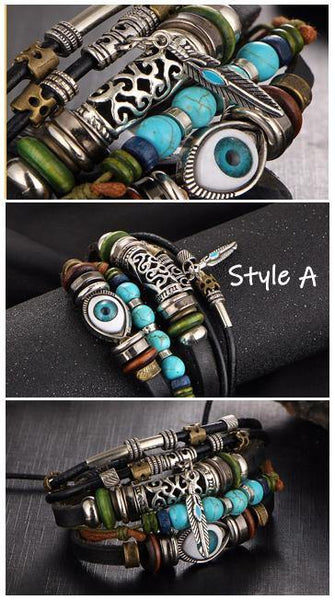 Leather Bracelets | Street Style Biker Southwest Rock`n Roll Outfit Additions & Accessories CHARMERRY A18