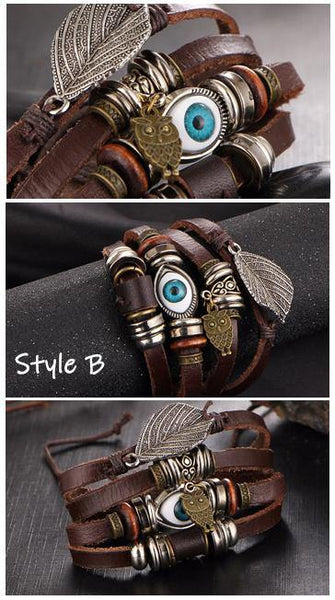 Leather Bracelets | Street Style Biker Southwest Rock`n Roll Outfit Additions & Accessories CHARMERRY A17