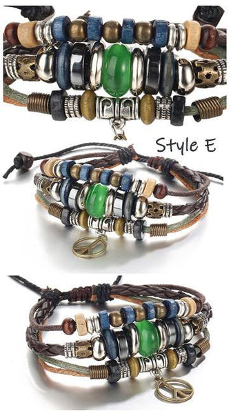 Leather Bracelets | Street Style Biker Southwest Rock`n Roll Outfit Additions & Accessories CHARMERRY A15