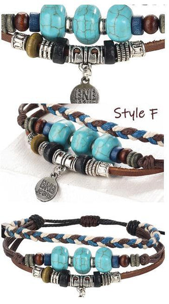 Leather Bracelets | Street Style Biker Southwest Rock`n Roll Outfit Additions & Accessories CHARMERRY A14