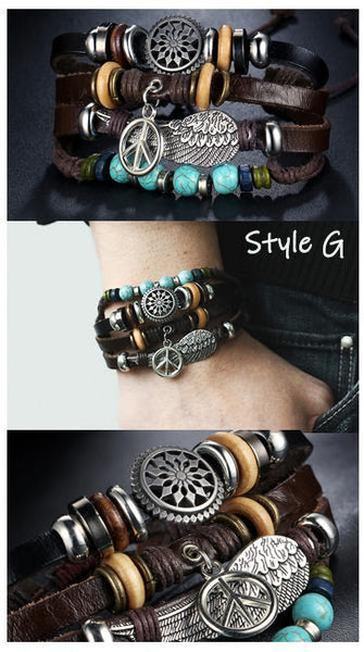 Leather Bracelets | Street Style Biker Southwest Rock`n Roll Outfit Additions & Accessories CHARMERRY A13